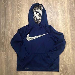 Nike Dri-Fit Youth Boys Navy Sweatshirt Hoodie Med